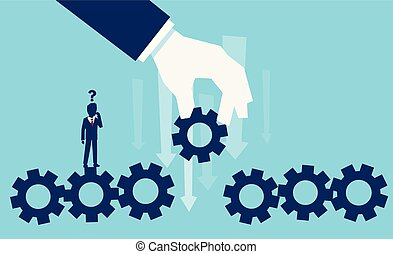 Vector of a businessman with question mark standing over machine gear wheel making a decision on replacing a missing part