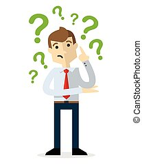 Vector of a businessman with question marks