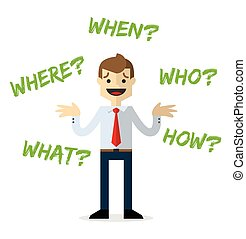 Vector of a businessman with questions, who, where, when, what and how