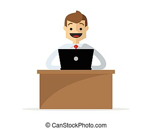 Vector of a businessman working at his desk
