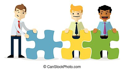 Vector of a businessmen with puzzles, a teamwork