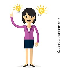 Vector of a businesswoman with an idea