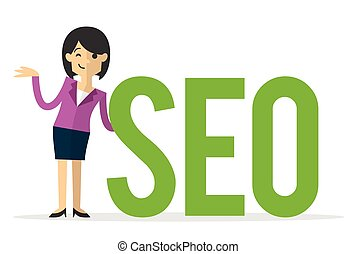 Vector of a businesswoman with big SEO text