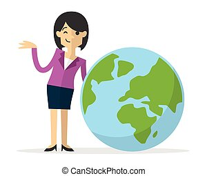 Vector of a businesswoman with earth icon