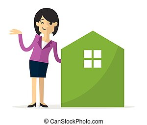 Vector of a businesswoman with home icon