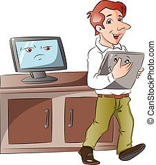 Vector of a cartoon monitor looking at businessman carrying laptop.