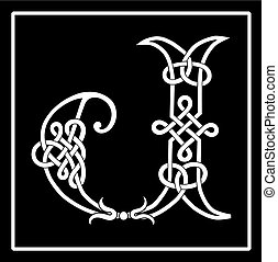 Celtic Knot-work Capital Letter J - Vector of a Celtic...