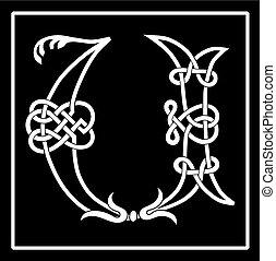 Celtic Knot-work Capital Letter U - Vector of a Celtic...