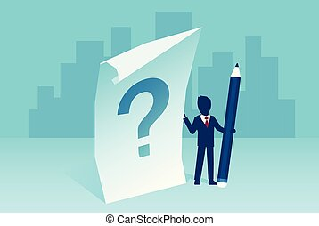 Vector of a confused businessman with question mark