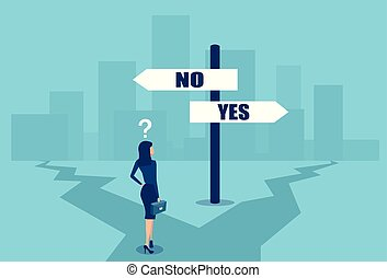 Vector of a confused businesswoman in difficult position making a choice at crossroads.