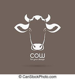 Vector of a cow head design on brown background. Farm Animal.