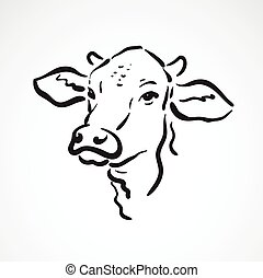 Vector of a cow head on white background. Farm Animals.
