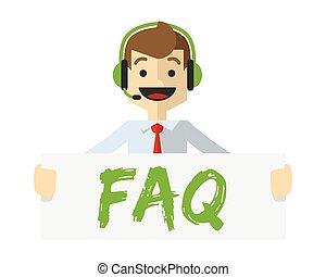 Vector of a customer service with FAQ board