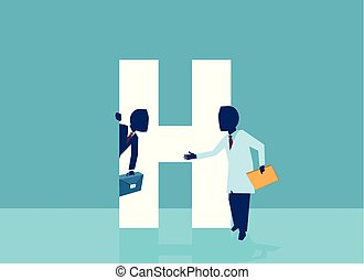 Vector of a doctor inviting businessman corporate manager in his hospital office