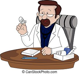 Vector of a doctor showing his injured finger.