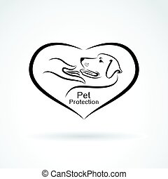 Vector of a dog and hand in the heart on white background. Pet protection.
