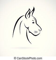 Vector of a dog head (Great Dane or German Mastiff or Danish...