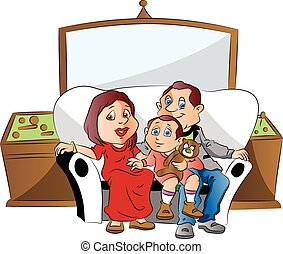 Vector of a family sitting on couch, watching television.
