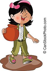 Vector of a girl carrying earthen pot.
