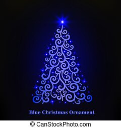 Vector of a glowing blue Christmas tree ornament