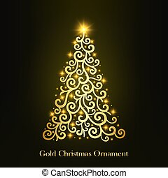 vector of a glowing golden Christmas tree