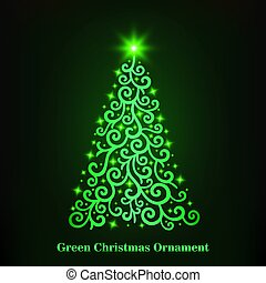 Vector of a glowing green Christmas tree ornament