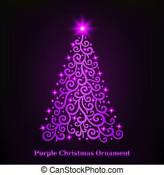Vector of a glowing purple Christmas tree ornament