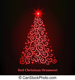 vector of a glowing red Christmas tree ornament