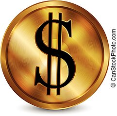 Vector of a gold coin with a dollar mark