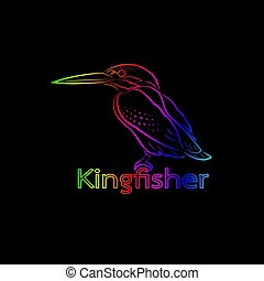 Vector of a kingfisher on black background. Bird