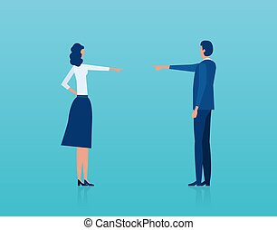 Vector of a man and woman having an argument blaming each other