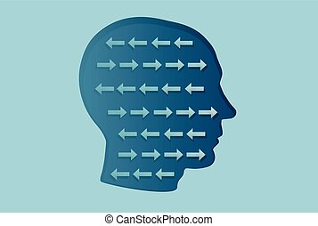 Vector of a man head with arrows inside going in opposite directions. Cognitive dissonance concept