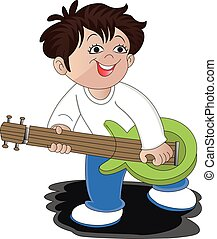 Vector of a man playing guitar.
