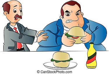 Vector of a man stopping friend from eating burger.