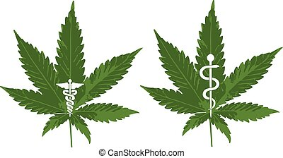 Vector of a Marijuana leaf with Caduceus and Rod of Asclepius