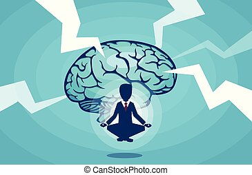 Vector of a meditating businessman brainstorming an idea