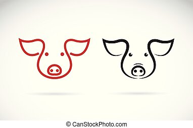 Vector of a pig head design on a white background. Farm...