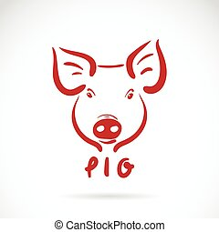 Vector of a pig head on white background. Farm Animals.