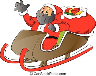 Vector of a santa with shocked expression in sledge.