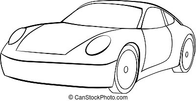 Vector of a Sports Car in Black And White