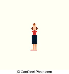 Vector of a strong business woman with a shadow imagining to be a super hero looking aspired. - Vector