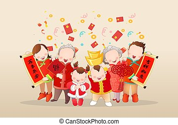 three generation asian family celebrating lunar new year holding couplets