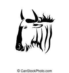 Vector of a wildebeest head on white background. Wild Animals.