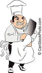 Vector of aggressive butcher with meat cleaver. - Vector of...