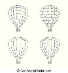 vector of air balloon icon set on white background