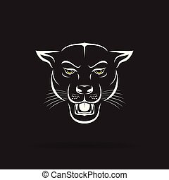 Vector of an angry panther head on black background. Wild Animals. Vector illustration.