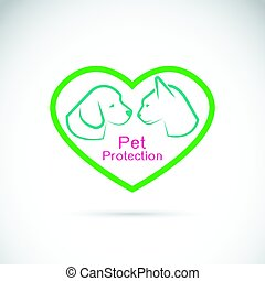 Vector of an dog and cat in the heart on white background. Pet protection.
