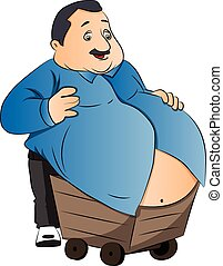 Vector of an obese man with stomach on wheelcart.