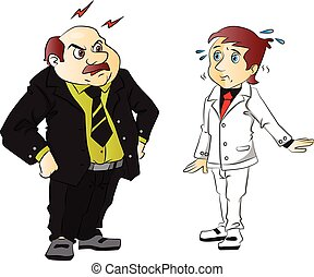 Vector of angry boss scolding employee. - Vector...