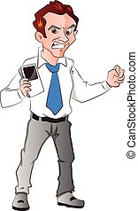 Vector of angry businessman holding a cellphone.